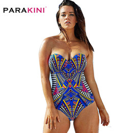 d3fc794be8 African Tribal Print One Piece Swimsuit with Push Up Padded Bra Swimwear  Women 2019 Bathing Swimsuit Beachwear Bandeau