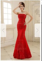 Lace Lycra T Back NZ - Trumpet Mermaid Strapless Floor-length Lace Prom Dressw80