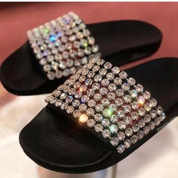 5e53f925be4 mens and womens fashion bling bling Crystal-embellished Leather Slides  sandals causal slippers with Molded rubber footbed