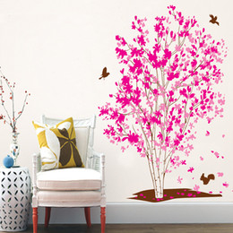 $enCountryForm.capitalKeyWord Australia - Fantasy Pink Tree Wall Stickers For Bedroom Home Decoration Plant Mural Pastoral Window Removable Diy Wall Posters Hot