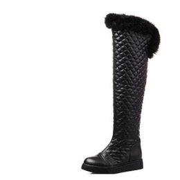 Women leather boot rabbit online shopping - Plus velvet over the knee thickening long design snow boots flat boots winter boots female medium leg rabbit fur winter