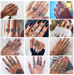 Discount black tungsten engagement rings - 20 styles Retro Flower Infinite Knuckle Rings For Women Vintage Geometric Pattern Crystal Rings Set Party Bohemian Jewel