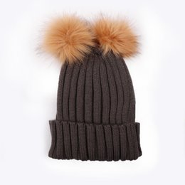 bad9436589e7b Hats Caps Double Fur Pom Pom skullies beanies Winter Knit Faux Fur beanies  for ladies Women Chunky Hat Bobble Bonnet Gorros