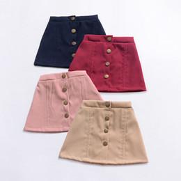 $enCountryForm.capitalKeyWord NZ - Girls Dress INS Solid Color High Waist Single-breasted Summer Fashion Short Skirts A-line Skirt Button Miniskirt Q14