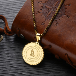 Unisex Pendant Necklaces Vintage Mens Gold Link Chain Titanium Steel Round Coin Scripture Necklaces Jewelry Gift wholesale Free shipping on Sale