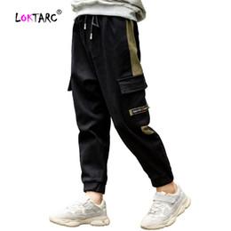 $enCountryForm.capitalKeyWord Australia - LOKTARC Boy Pants Kids Autumn Multi Pockets Cargo Pants Side Stripe Cotton Jogging Garcon Elastic Waist Children's Trousers Boys
