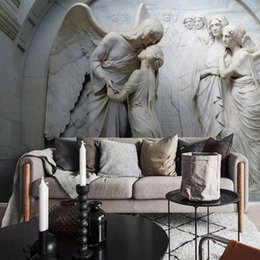 Angels Figures Australia - 8D Large Mural Religion Figure Angel Wall Decor Wallpaper Murals for Sofa Backaground 3d Angel Mural 3d Wall Mural 3D Wall paper