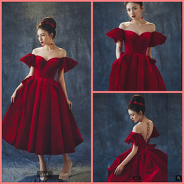 hot sexy girls red dress Canada - Robe de soiree new a line tea length burgundy velvet formal prom dress scoop neckline petite girls informal short sexy prom gowns hot sale