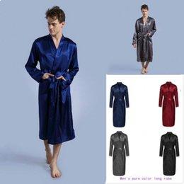 2019 yeni ipek pijama erkekler ve kadınlar katı renk elbise elbiseler V Yaka ipek erkekler pijama pijama erkek bornoz indirimde