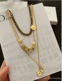 Necklaces Pendants Australia - classic series multi-layer Necklace brass multi-layer overlapping Necklace free shipping 60802