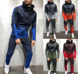 mens tracksuits bottoms Australia - Mens Tracksuit Set Gradient Zip Up Hoodie Top Bottoms Jogging Joggers Gym Sweats Slim Fit
