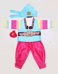 korean winter party dresses Canada - Korean Hanbok Baby Boy 1st Birthday Party Hanbok Dolbok Korean Traditional Dress
