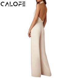 $enCountryForm.capitalKeyWord Australia - Calofe Sexy Deep V-neck Jumpsuit Women Fashion Backless Halter Wide Leg Pant Bodysuit Sleeveless Long Romper Formal Overalls