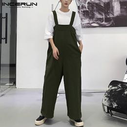 Jumpsuit Men Xs Australia - 2019 Mens Romper Straps Wide Leg Jumpsuit Baggy Casual Pants Solid Color Fashion Suspenders Streetwear Men Overalls INCERUN 5XL