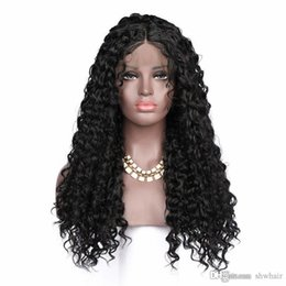 jet black curly wigs UK - Curly Synthetic Lace Front Wigs For Black Women Glueless Jet Black Heat Resistant Fiber Hair Lace Front Synthetic Curly Wig With Baby Hair