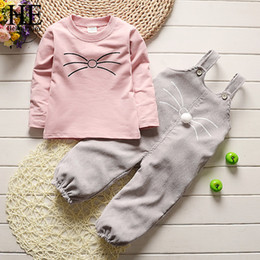 Wholesale hello t shirt online – design HE Hello Enjoy Fashion Autumn Children Girls Clothes Toddler Clothing Sets Cartoon Cute Cat T Shirt Overalls Sets Kids Tracksuit