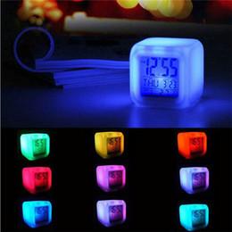 Changing Color Clock Australia - Color Change LED Digital Alarm Clock Multi-function Glowing 7 Color Change Digital Alarm Clock LED Watch Glowing Thermometer Desktop Clock