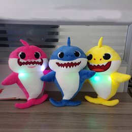 Favor Toys Australia - New Baby Shark Plush Toys With Music Sound Singing Plush Led Lighting Soft Animal Stuffed Doll Toys Party Favor Gift 30cm(11.8inch) HH9-2133
