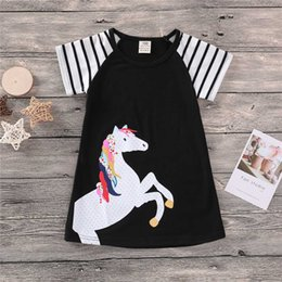 toddler girls shirt dresses Australia - 1-8Y Children Girls Dress Summer Kids Birthday Clothing Baby Girl Princess Dresses Toddler Unicorn Tops Clothes Black T-shirts