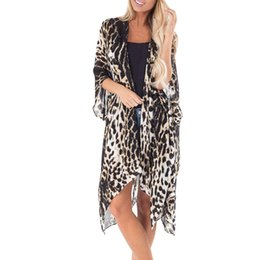 $enCountryForm.capitalKeyWord Australia - 2019 Women Sexy Leopard Print Bikini Cover Up Cardigan Beach Dresses Chiffon Beach Tunics Pareos Swimsuit Kaftan Cape