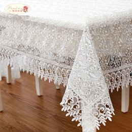 White Roses Table Australia - Proud Rose White Lace Table Cloth Wedding Decor Translucent Table Cover Embroidered Tablecloth Cloth Home Decor