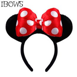 ear props UK - IBOWS Hair Accessories Black Ears Headbands Handmade Dots Hair Bow Hairbands For Girls Plush Hair Hoop Photography Prop Headwear