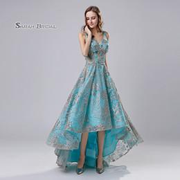 f285b863b01 Sky Blue Lace A-Line Hi-Lo Quinceanera Prom Party Dress 2019 Beach Elegant  Vestidos De Festa Evening Occasion Sleeveless Formal Wear LX524