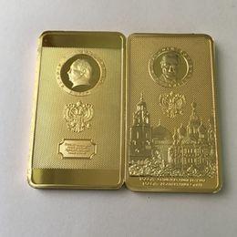 $enCountryForm.capitalKeyWord Australia - 100 Pcs The Putin coin president of Russia kremlin silver gold plated badge 50 x 28 mm ingot souvenir collectbile decoration coin