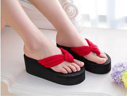 3efb8c6fa3cb HOT Summer Fashion Women s Slippers Sequins Anti-Slip Wedge Sandals Indoor  Outdoor Thong Mid Heels Platform Slippers Flip-flops