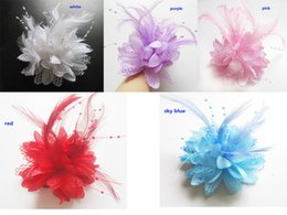 pink brooches wholesale UK - New Arrivals High-grade feather flower hair clip Fabric flower brooch Wedding dress flowers 50pcs lot Free Shipping
