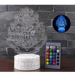 3D Harry Potter Night Light Hogwarts Decoloración Escuela Mágica iluminación de la lámpara LED Dormitorio Decor Linternas RGB Lámpara de Mesa niños juguete en venta