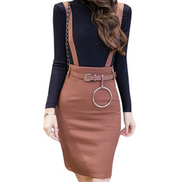 Wholesale S XL Plus Size women skirts Spring autumn Fashion Black Suspender Skirts Women High Waist Ladies pencil faldas