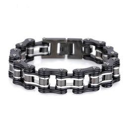 $enCountryForm.capitalKeyWord Australia - Fashion Men Motor Bike Chain Bracelet Silver Black Titanium Steel Link Bicycle Biker Chain Bracelets Jewelry For Men Friend Gift