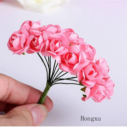 flower paper handmade for wedding NZ - 144pcs Artificial Flower Rose Mini Cute Paper Rose Handmade For Wedding Decoration DIY Wreath Gift Scrapbooking Craft Fake Flower