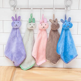 Infant Baby Washcloth Australia - New Baby Infant Coral Velvet Hand Towel Cartoon Animal Rabbit Kitchen Hanging Bath Wipe Towel Washcloths Kids Handkerchief