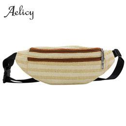 Woven Leather Belt UK - Aelicy Straw Woven Stripe Chest Bag Women Summer Fashion Messenger Crossbody Bag Ladies Casual Wild Two Zipper Waist Belt