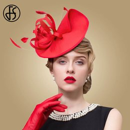 7d51501a1f3b4 FS Ladies Red Wedding Hats For Women Pillbox Fascinators Hat Black Formal  Cocktail Tea Party Derby Cap Chapeu Feminino Fedora
