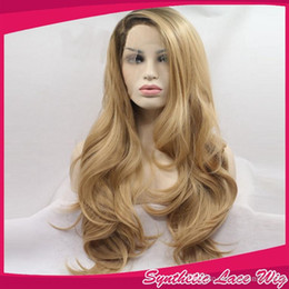 Blonde two tone wigs online shopping - Fashion Long Wave Blonde Ombre Wig Synthetic Lace Front Wigs Heat Resistant Black Blonde Two Tone Hair BT27 For Women