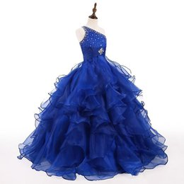 Girl yellow paGeant dresses size 12 online shopping - Royal Blue Girls Pageant Dress One Shoulder Crystals Beads Ruffles Organza Ball Gown Girls Birthday Party Gowns Custom Size