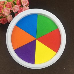 Kids Craft Stamps Australia - Funny 6 Colors Ink Pad Stamp Diy Finger Painting Craft Cardmaking Large Round For Kids Learning Education Drawing Toys