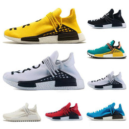 Shoe Samples Australia - 2018 NMD Human Race Mens Running Shoes Pharrell Williams Sample Yellow Core Black Sport fashion luxury mens women designer sandals shoes