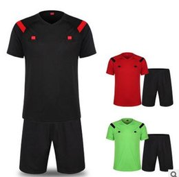 long sleeve soccer uniforms wholesale NZ - Short sleeve Soccer Referee Jersey Judge Uniform Professional Soccer Referee Clothing Football Referee Jersey set