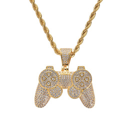 Gold Handles Australia - Hip Hop Game Machine Controller Handle Pendant Necklace for Women Men Full Iced Out Gold CZ Crystal Rhinestone Jewelry Necklaces