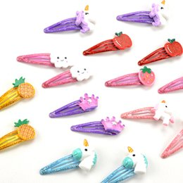 $enCountryForm.capitalKeyWord Australia - New 2pcs lot Children's Hairpins Cartoon Animals Unicorn Hair Clips Shiny Cloud Colorful Crown Fruit Hair Accessories For Girls