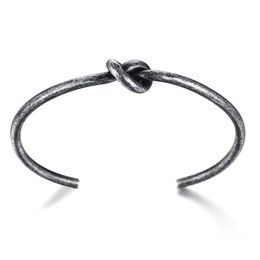 silver knot cuff bracelet Australia - New Fashion 3.4MM Titanium Steel Knot Cuff Bracelets For Women Rose Gold Cuff Bangles Silver Open Bracelet Female Bangle Jewelry