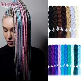 Blonde hair Blue extensions online shopping - Good Quality Long Ombre Jumbo Synthetic Braiding Hair Crochet Blonde Pink Blue Hair Extensions Jumbo Braids HOUYAN