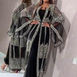 2020 Abaya Dubai Müslüman Elbise High Class Pullarda Nakış Dantel Ramazan Kaftan İslam Kimono Kadınlar Türk Eid Mubarak