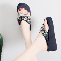 Wholesale Canvas High Shoes Australia - WENYUJH 2019 New Arrival Fashion Crystal Platform Women Slippers Heart Lady Sexy Rhinestone Wedges High Heel Slide Big Size Shoe