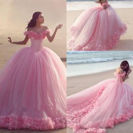 $enCountryForm.capitalKeyWord Australia - 2016 New Arabic Ball Gown Wedding Dresses Off Shoulder 3D Flowers Chapel Train Pink Puffy Tulle Plus Size Formal Quinceanera Bridal Gowns
