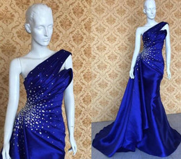 one hand formal mermaid dresses Australia - 2019 royal blue Mermaid Prom Dresses sexy one shoulder Evening Dress beaded crystal Aso Ebi Style African custom made Formal Gowns